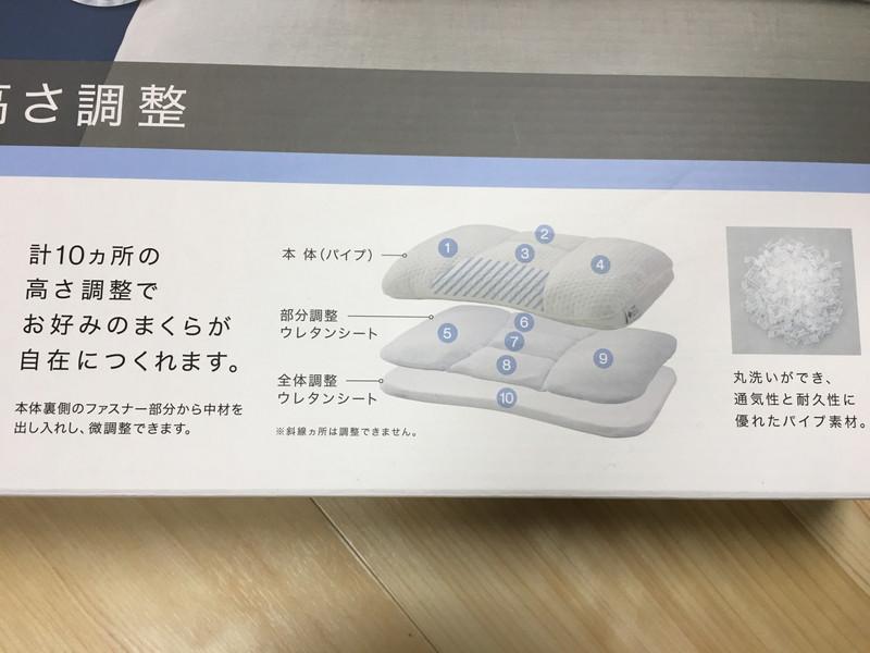 ニトリの枕(高さが10ヵ所調整できる枕)は部位ごと高さ調整可能