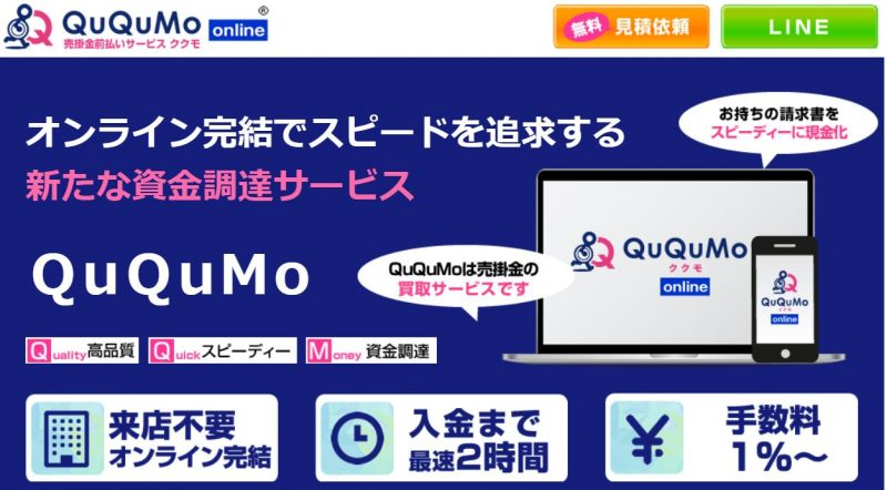 QuQuMo(ククモ)【ネット完結で手数料も安いファクタリング会社】