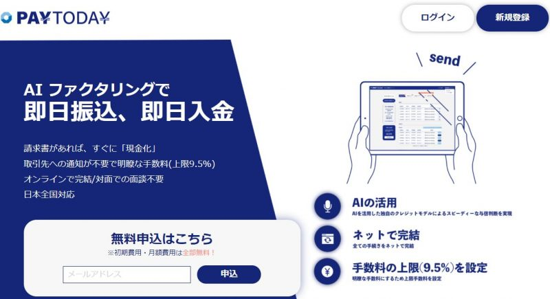 PayToday【低コストで早いAI審査の請求書買取サービス】